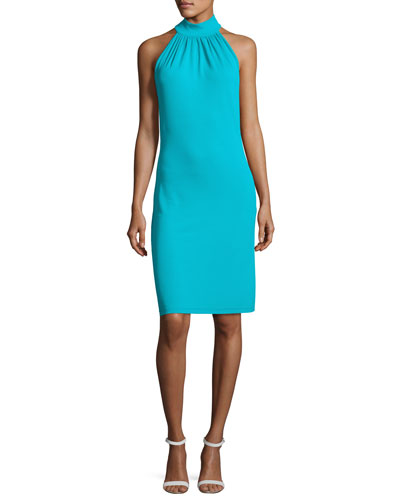 Sleeveless Halter Sheath Dress
