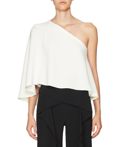 Flutter One-Shoulder Top, White
