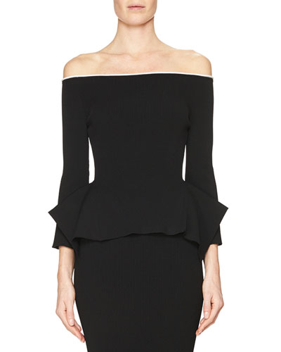 Off-the-Shoulder Origami-Hem Top, Black