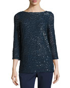 Sequined Boat-Neck Tunic, Navy