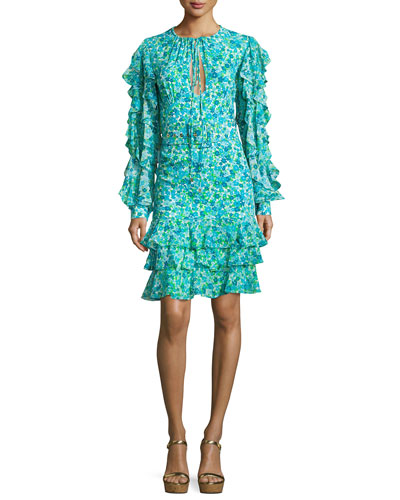 Ruffled Floral Keyhole Dress, Turquoise