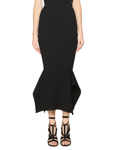 Origami Ruffled-Hem Midi Skirt, Black
