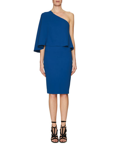 Flutter One-Shoulder Popover Dress, Blue