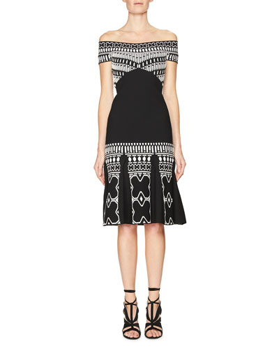 Off-the-Shoulder Printed Box-Pleat Dress, Black/White