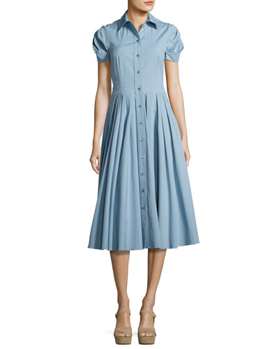 Pleated Short-Sleeve A-Line Shirtdress, Medium Blue