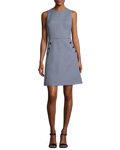 Gingham Dome-Button Shift Dress, Blue/White