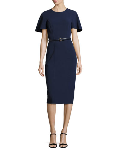 Capelet Belted Sheath Dress, Navy
