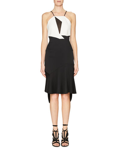 Lace-Inset Sleeveless Flounce Dress, Black/White