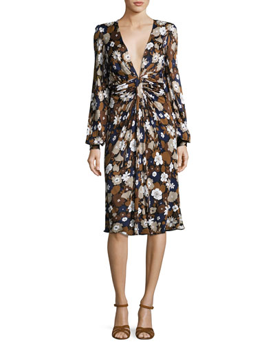 Floral Knotted Deep-V Dress, Brown/Multi