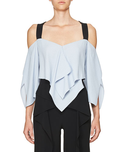 Zigzag Handkerchief-Hem Top, Blue/Black