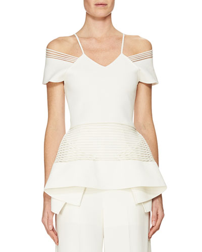 Strappy-Trim Off-the-Shoulder Peplum Top, White