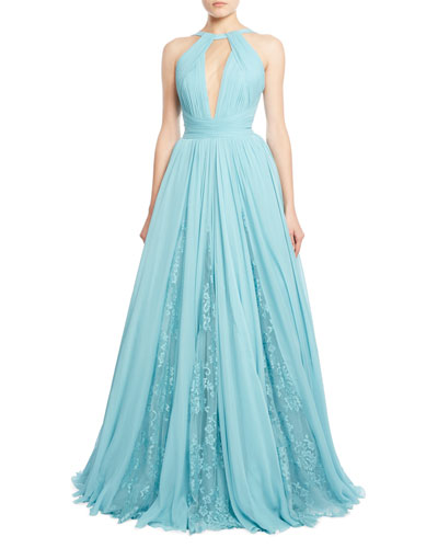 Draped Georgette Gown with Lace Insets, Blue