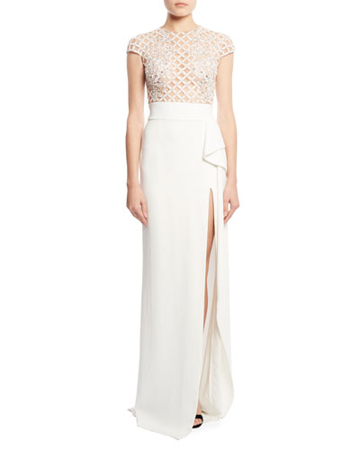 Cady Side-Slit Gown with Embellished Lace Bodice, White