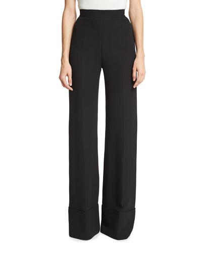 High-Waist Wide-Cuff Pants, Black