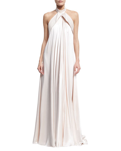 Folded Bow-Back Halter Gown, Light Pink