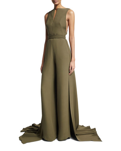 Sleeveless Jumpsuit with Train, Olive