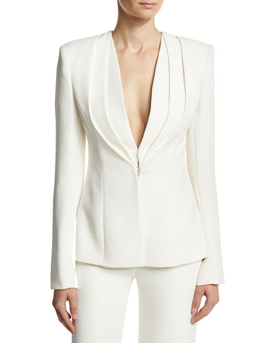 Layered Lapel Suiting Jacket, Ivory