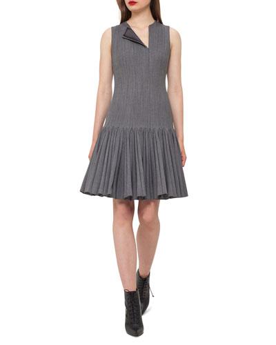 Sleeveless Pleated Drop-Waist Dress