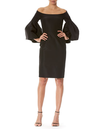 Off-the-Shoulder Bell-Sleeve Cocktail Dress, Black