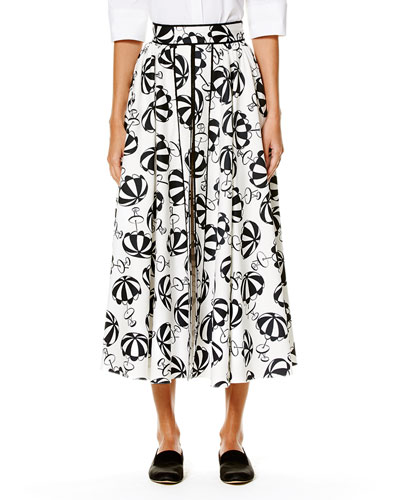 Café Umbrella Midi Skirt, Black/White