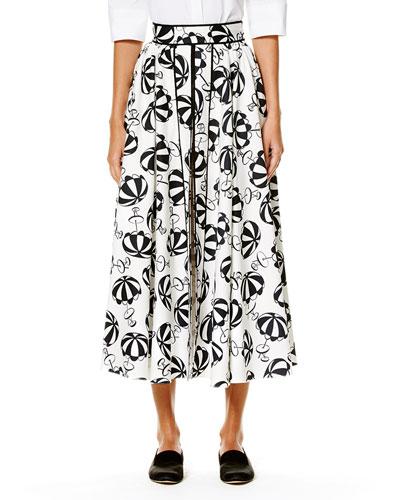 Café Umbrella Midi Skirt, Black/White