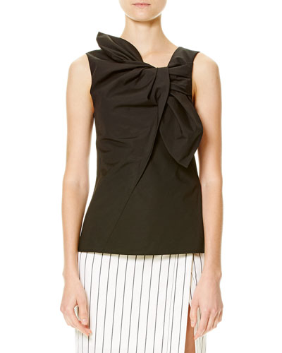 Sleeveless Cotton-Blend Bow Top, Black