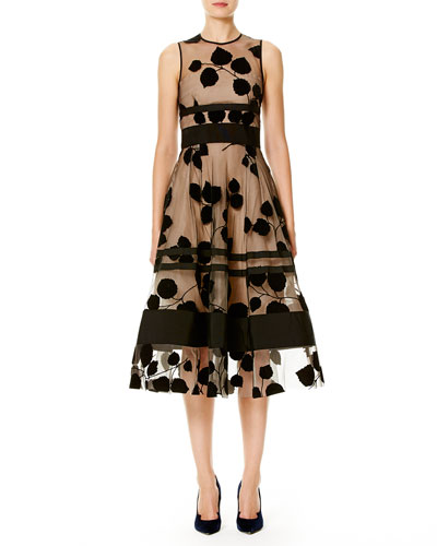 Sleeveless Illusion Vine Midi Dress, Black