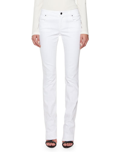 Mid-Rise Straight-Leg Jeans, White