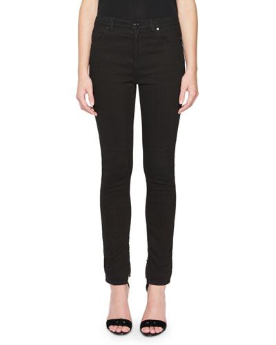 Zip-Cuff Skinny Jeans, Black