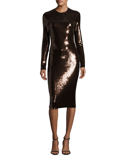 Sequined Long-Sleeve Scoop-Neck Dress, Brown