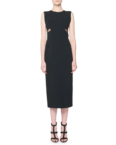 Sleeveless Mesh-Side Midi Sheath Dress, Black