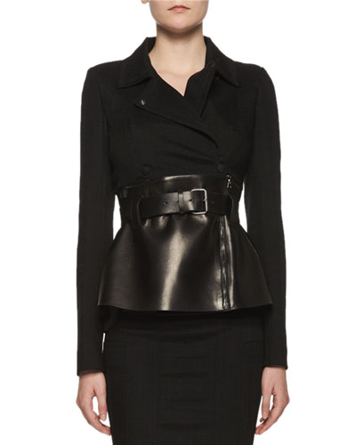 Belted Leather Peplum Wrap Jacket, Black