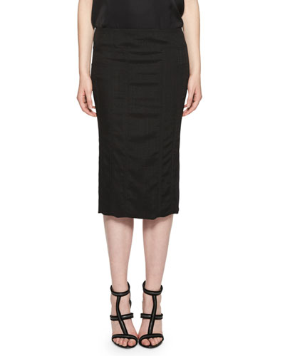 Basketweave Pencil Midi Skirt, Black