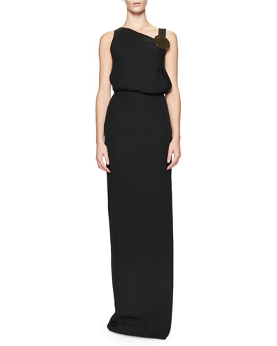 Sleeveless Blouson Side-Slit Gown, Black