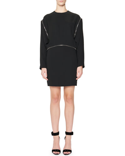 Zipper-Trim Kimono-Sleeve Mini Dress, Black