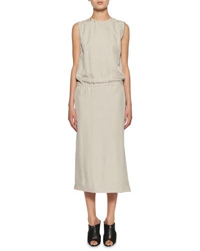 Sleeveless Drawstring Side-Zip Dress, Neutral