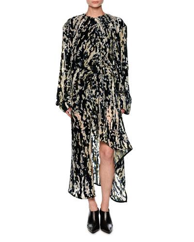 Haze-Print Velvet Devoré Long-Sleeve Dress, Blue/Multi