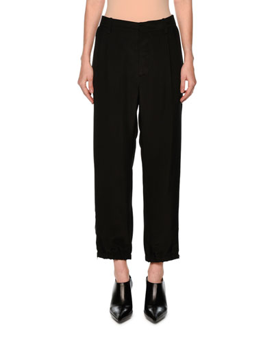 Straight-Leg Ankle-Zip Pants, Black