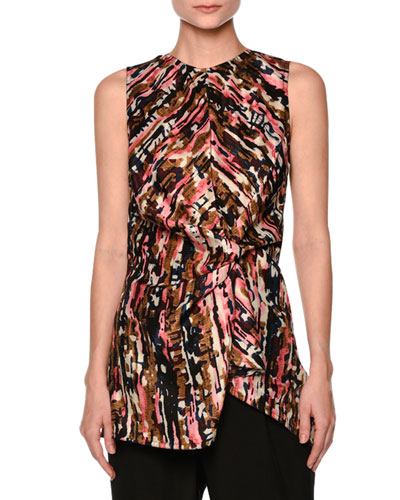 Haze-Print Gathered Sleeveless Blouse, Pink/Multi