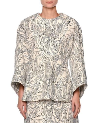 Beardsley-Print Nip-Waist Blouse, White/Multi