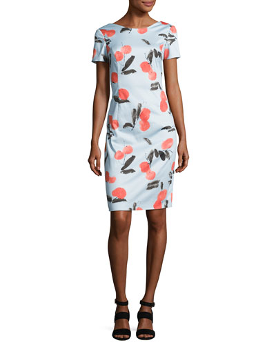 Cherry-Print Short-Sleeve Dress, Blue