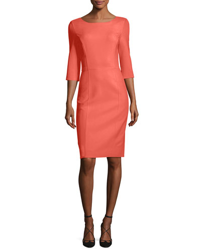 3/4-Sleeve Sheath Dress, Pink