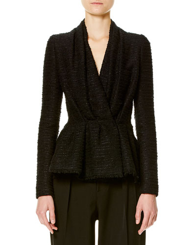 Tweed Gathered-Front Jacket, Black