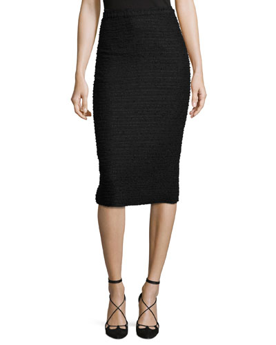 Tweed Pencil Skirt, Black