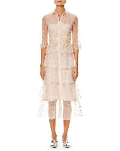 Embroidered Tulle 3/4-Sleeve Trench Dress, Pink