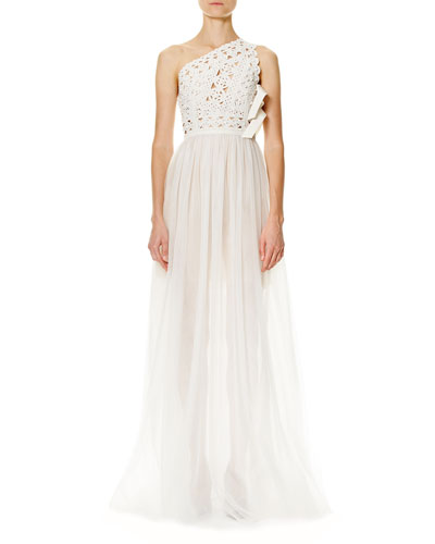 Laser-Cut One-Shoulder Tulle Gown
