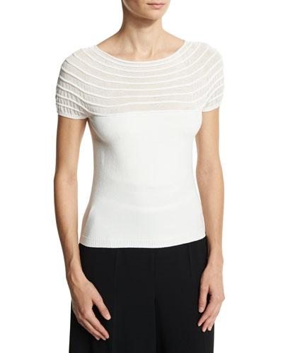Massai Knit Cap-Sleeve Sweater