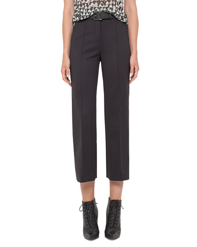 Cara Straight-Leg Cropped Pants, Black