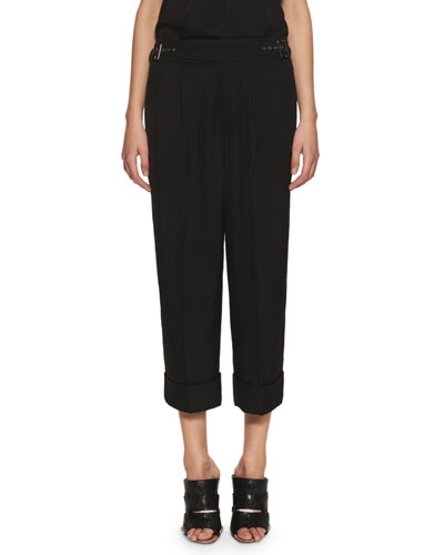 Cropped Buckle-Waist Pants, Black