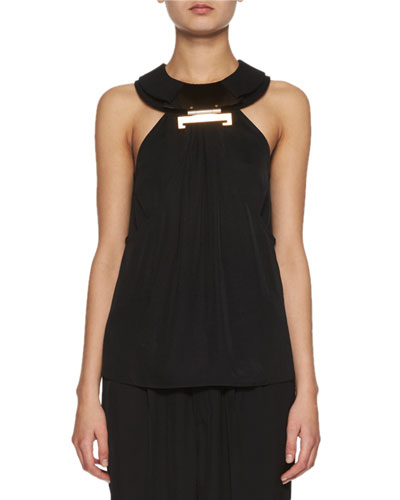 Double-Layer Collared Top, Black